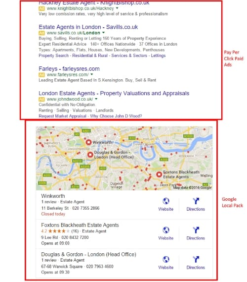 February 2016 changes to Google search result layout